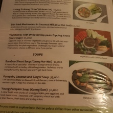 The menu at Tamarind Restaurant, Luang Prabang