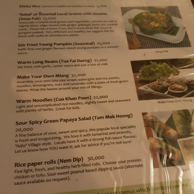 The menu at Tamarind