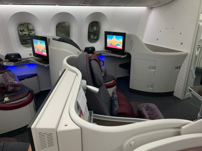 Qatar Airways business class A350-900 reverse herringbone