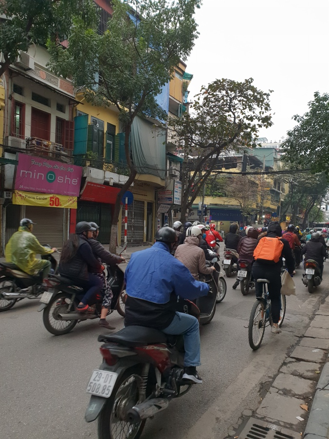 Morning rush hour in Hanoi