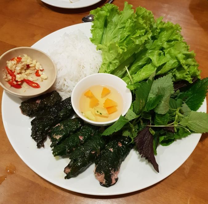 Chả lá lốt at Hong Hoai's, Hanoi