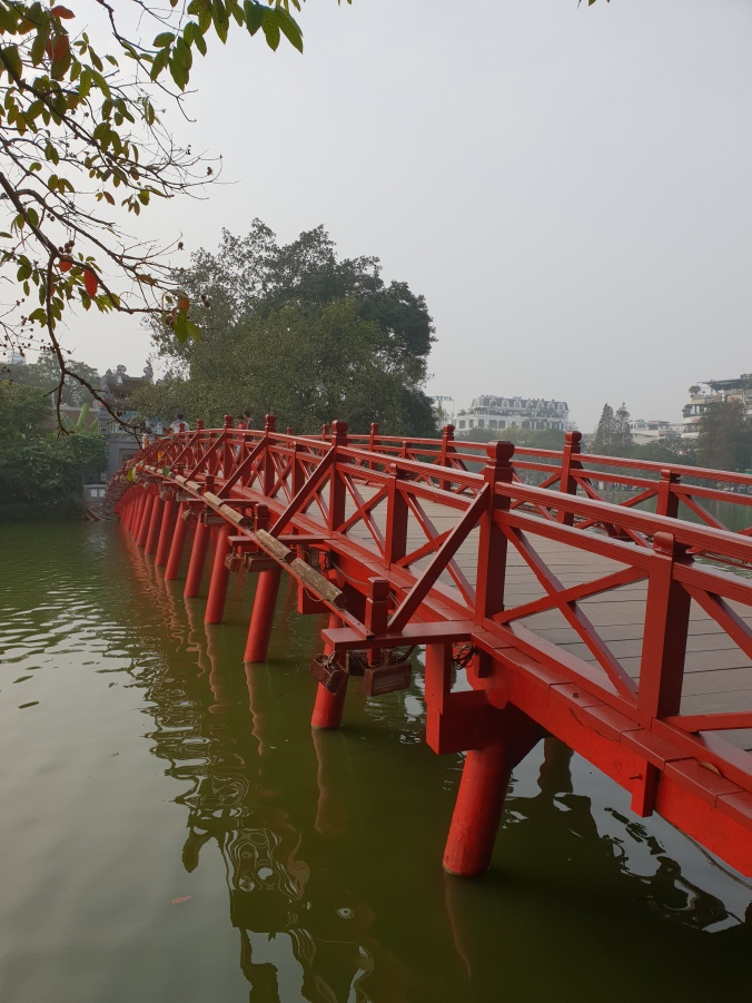 The Huc Bridge across Hoan Kiem Lake, Hanoi