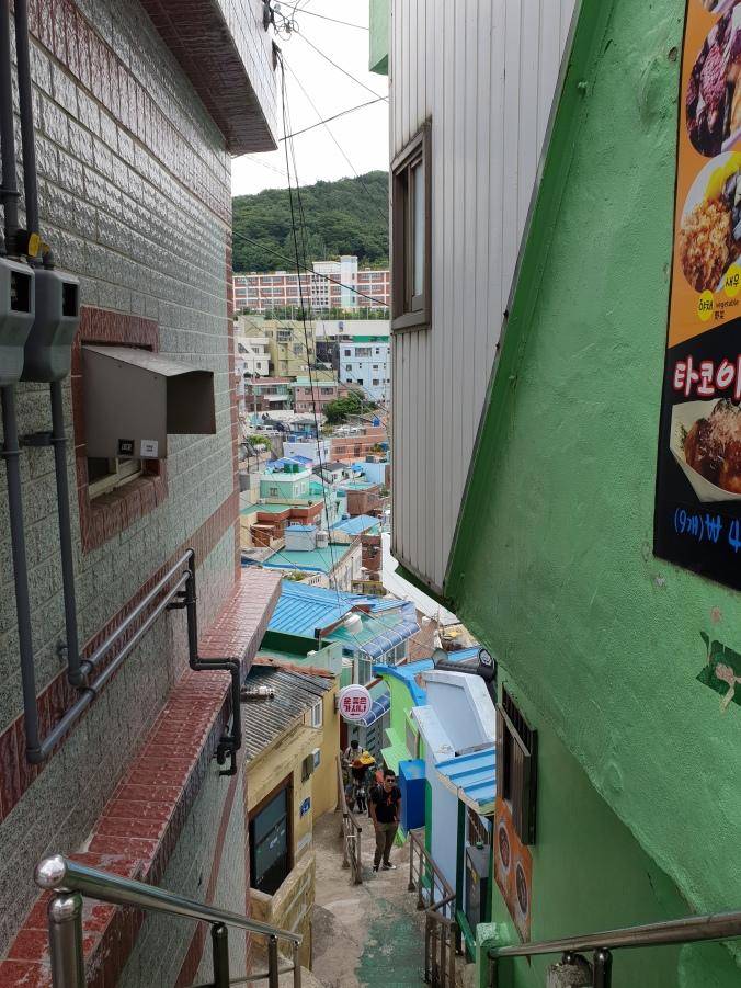 A narrow alley in Gamcheon Culture Village, Busan
