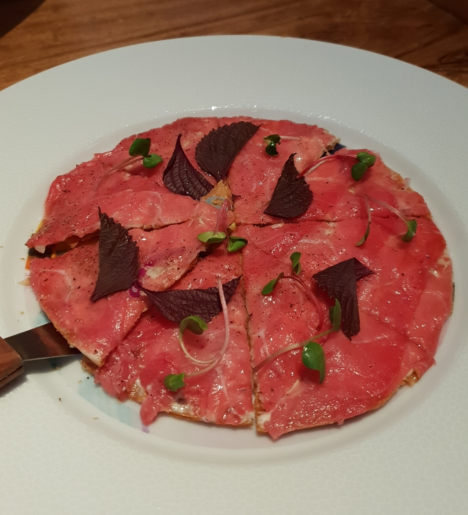 Tuna 'pizza' at Akira Back, Seoul