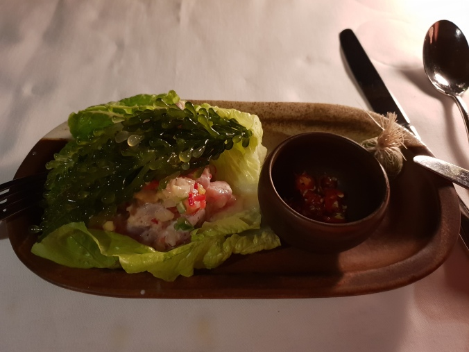 Tuna kinilaw at the Clubhouse restaurant, Amanpulo