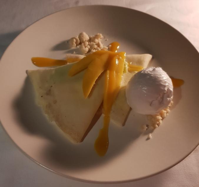 Mango pandan crepe, Clubhouse, Amanpulo