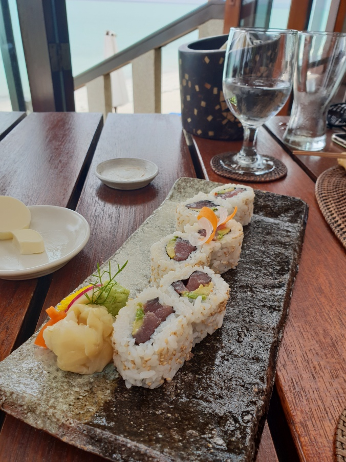 Lunchtime sushi at the Beachclub, Amanpulo