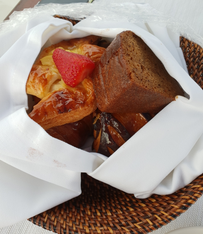 Pastries for breakfast on our fishing boat, Amanpulo