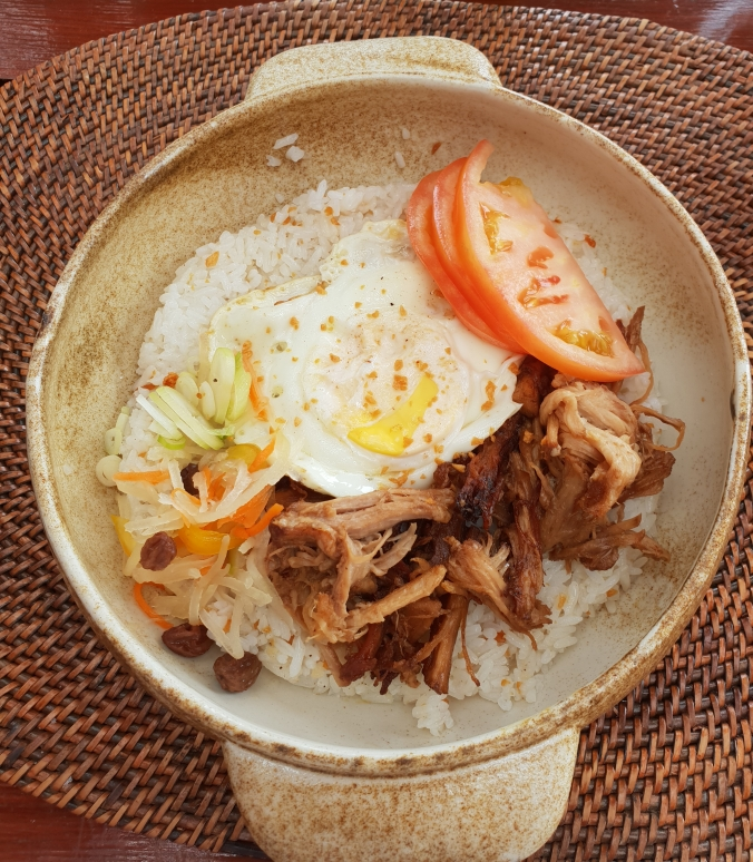 Pork adobo for breakfast at the Beachclub, Amanpulo