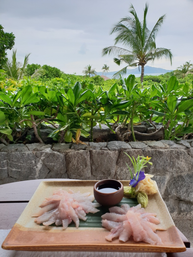Sashimi for lunch at the Clubhouse from the snapper we caughter earlier that morning