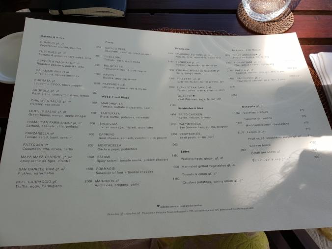 Lunch menu at the Beachclub, Amanpulo