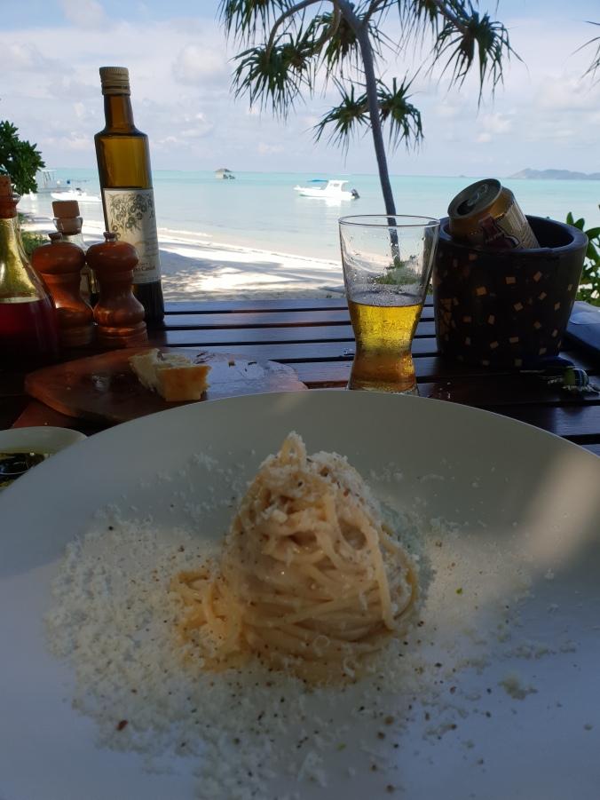 Cacio e pepe for lunch at the Beachclub, Amanpulo