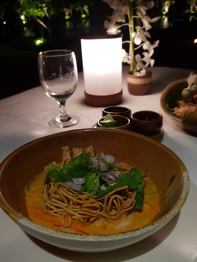 Delicious khao soi for dinner at the Clubhouse, Amanpulo