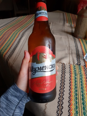 Sampling the local Bulgarian beer, Shumensko