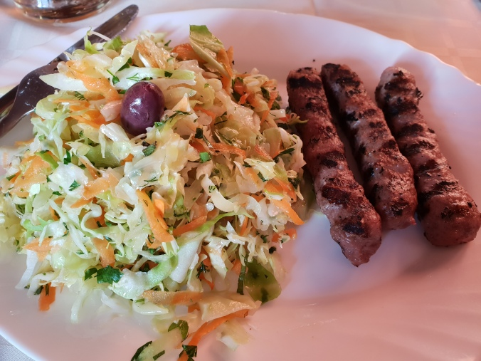 Kebabche and salad for dinner