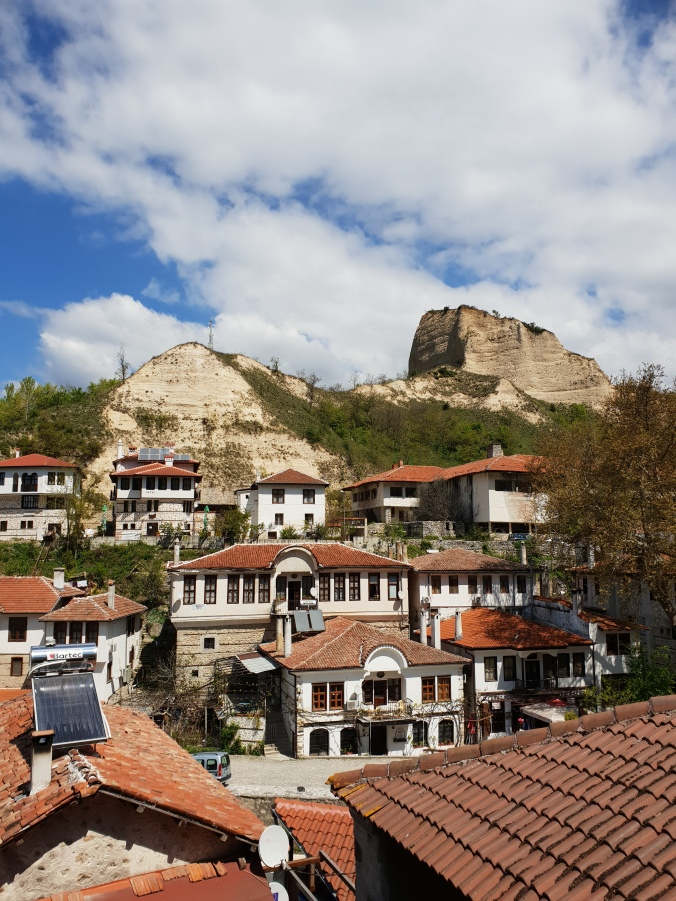 The beautiful town of Melnik with dramatic rock background