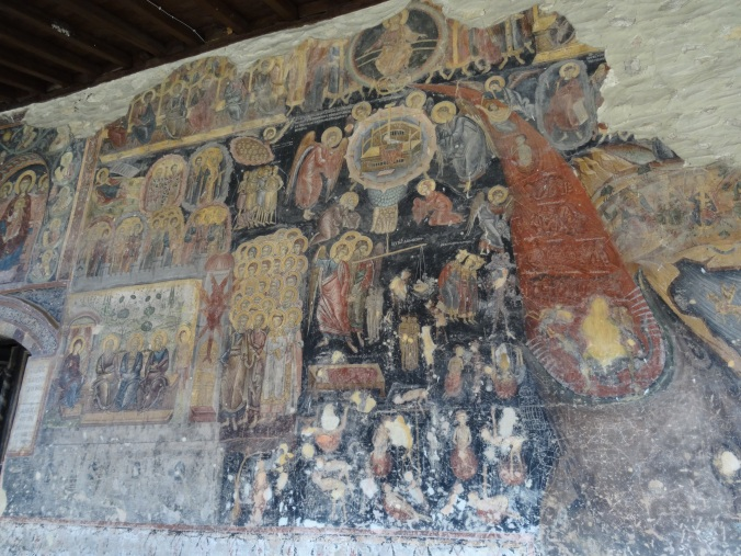Wall paintings on the exterior of the church in Rozhen Monastery