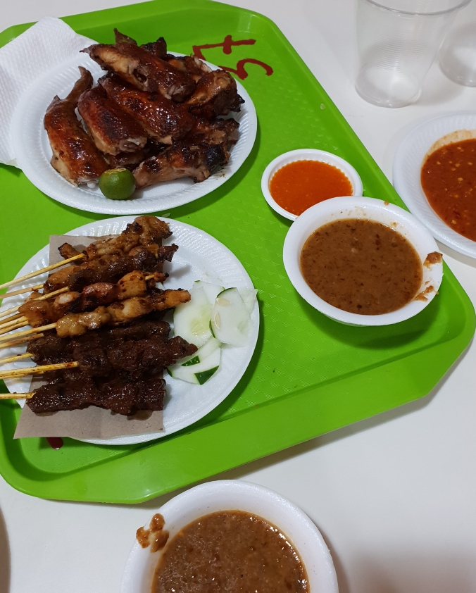 Chicken wings and satay at Newton Hawker Centre, SIngapore